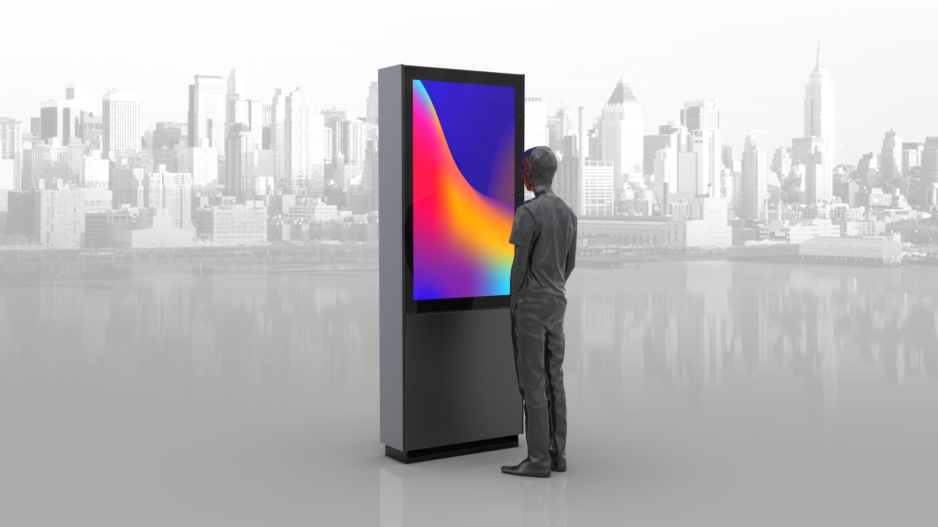 Man standing and looking at digital screen with a city scape behind it