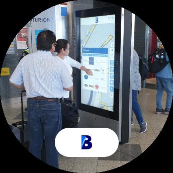 LaGuardia touch screen kiosk and logo