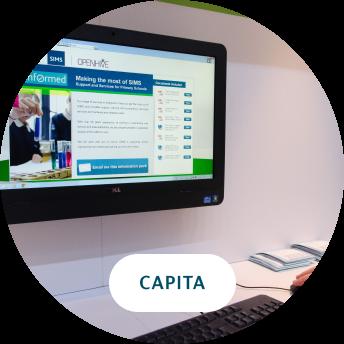Capita digital signage and logo