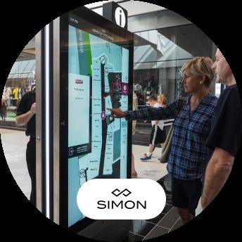 Simon Malls touch screen kiosk and logo