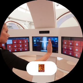 TAQA digital interactive screen and logo