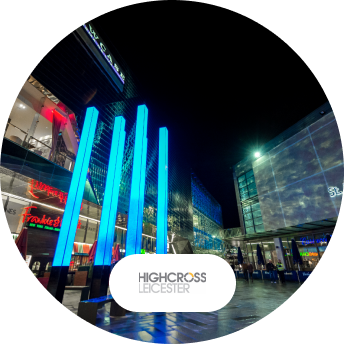HIghcross Leicester Beacons digital signage and logo