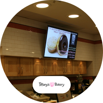 Tiffany's Bakery digital signage and logo