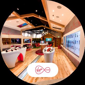 Virgin Media White City interior and logo