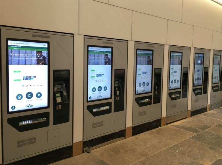Multiple self-service ticketing kiosks