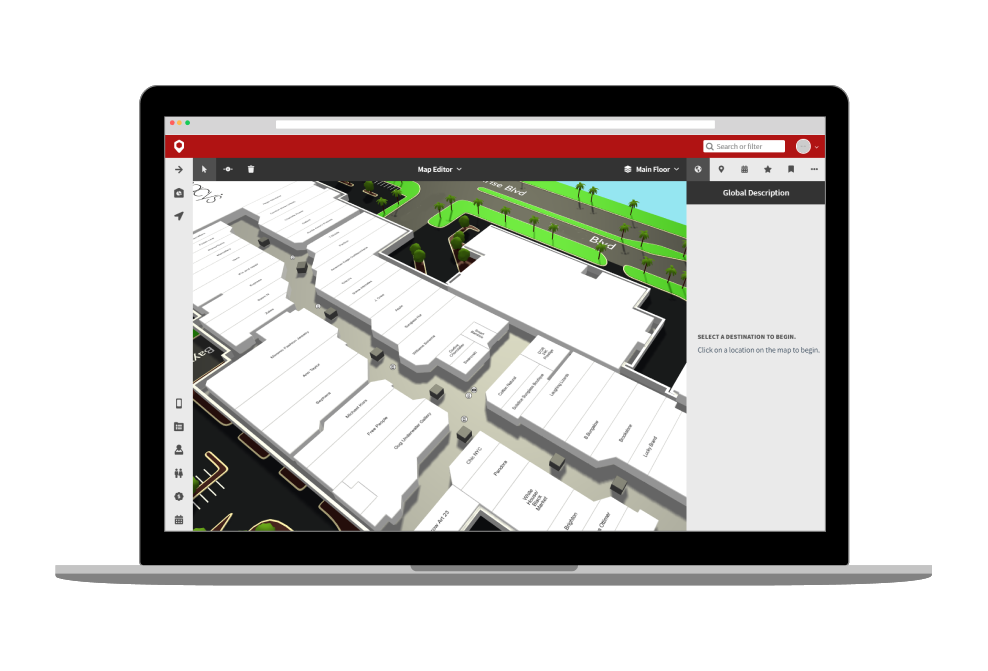 Digital directory content management software to remotely update mapping and content